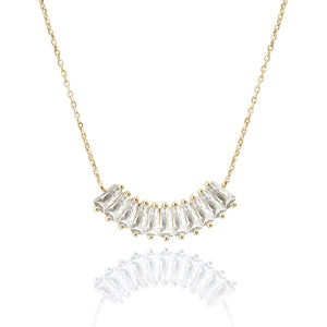 """Baguette Illusions"" 1.7CTW Baguette Curved Bar Necklace"