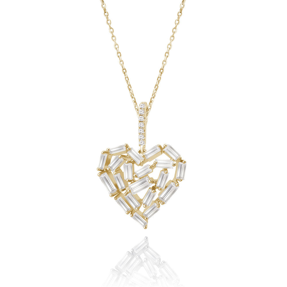 """Take my Heart Away"" 2.5CTW Baguette Cluster Pendant Necklace"