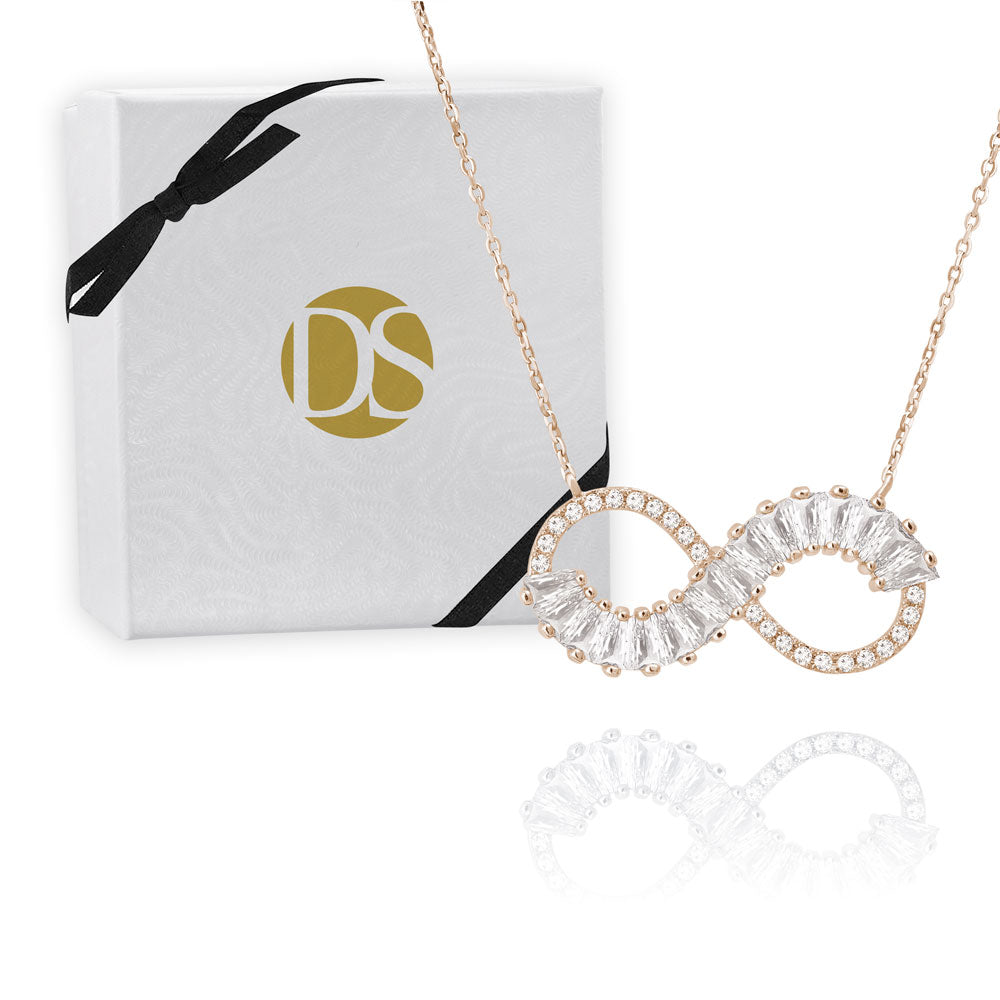 """Endless Beauty"" 3.5CTW Baguette Infinity Sign Necklace"