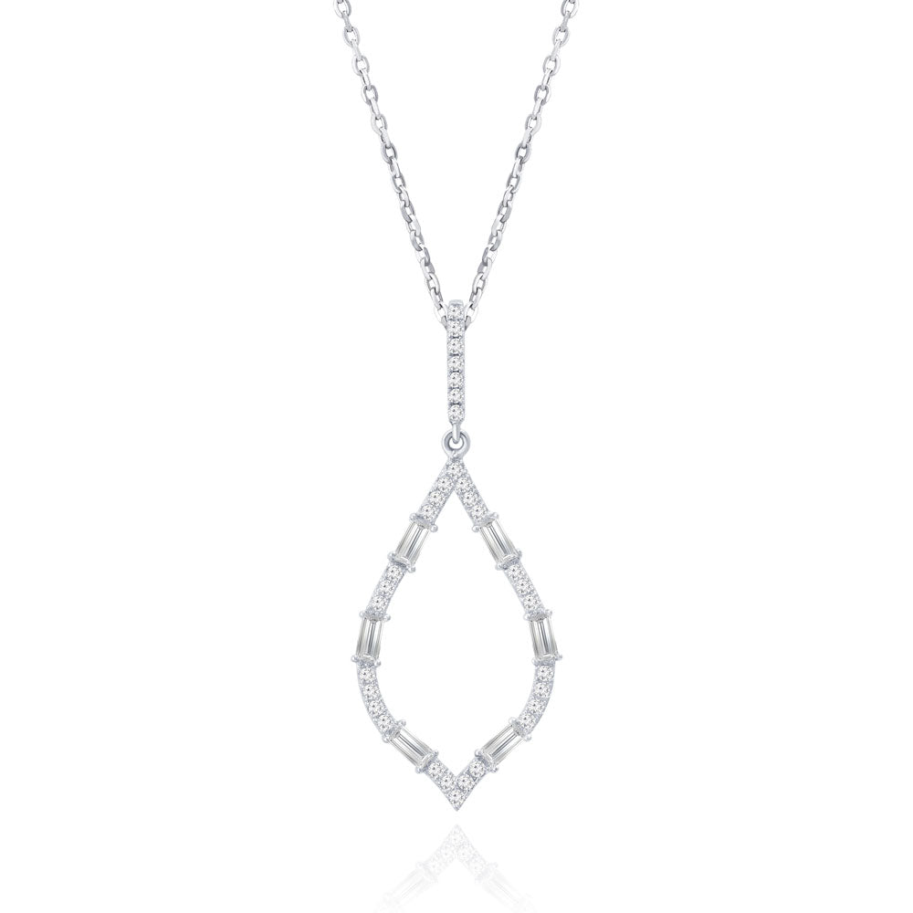 """Moonlight Sparkle"" 1.4CTW Baguette Open Marquise Pendant Necklace"