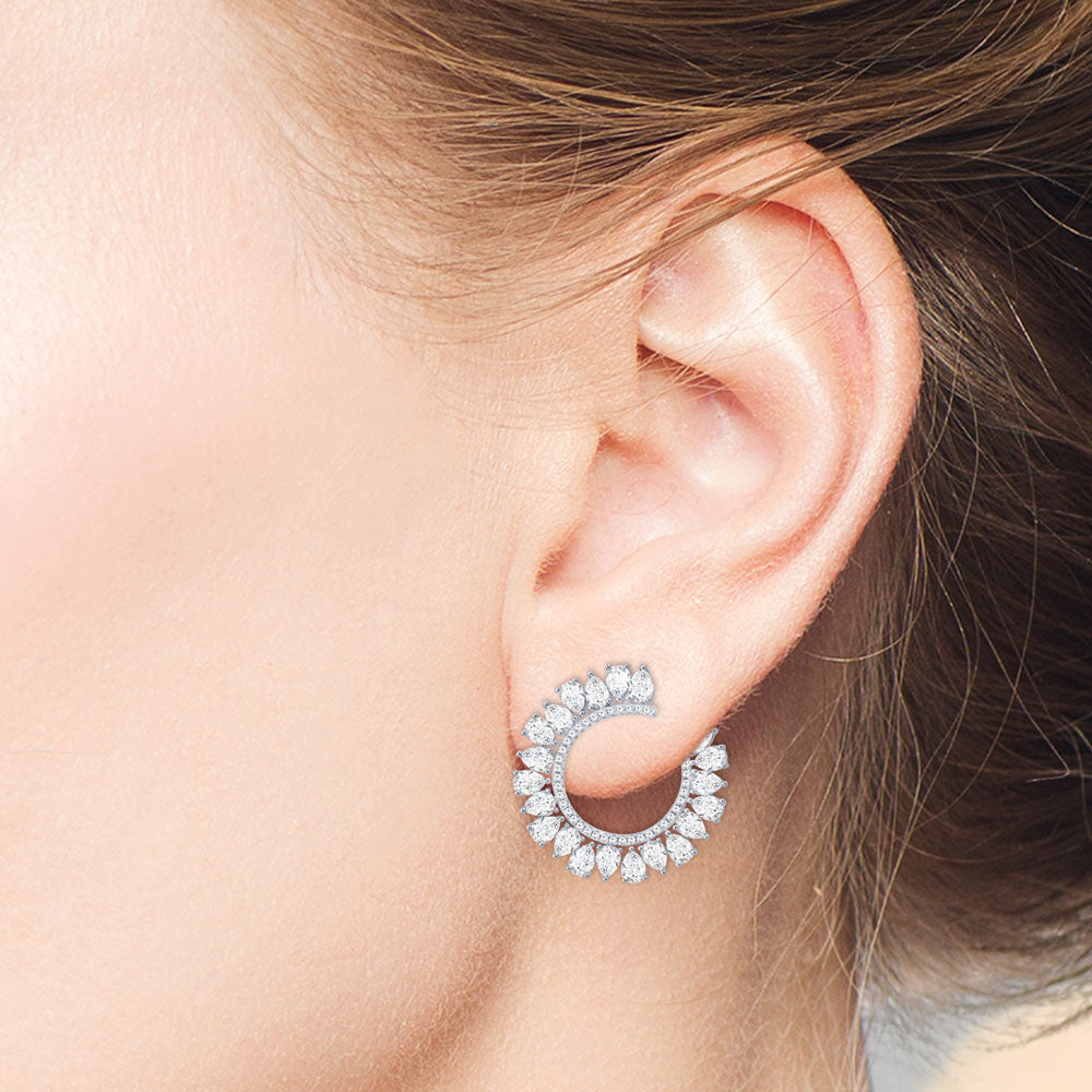 """Open-Hearted"" 6.3CTW Pear Cut Circle Shape Statement Earrings"