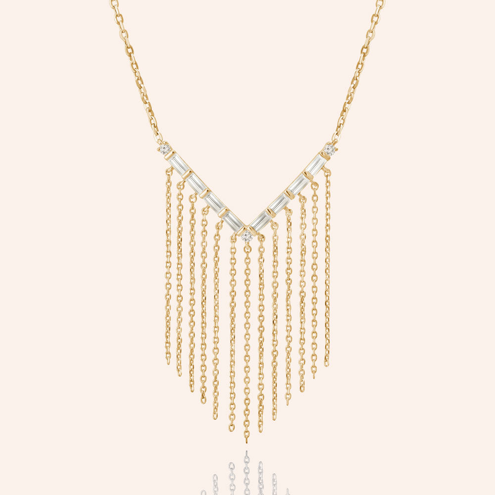 """Stream of Gleam"" 2.0CTW Baguette Dangling Necklace"