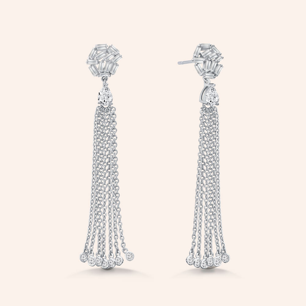 """Tassel Glamour"" 4.8CTW Baguette Dangling Earrings"