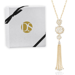 """Tassel Glamour"" 6.2CTW Baguette Statement Pendant Necklace"