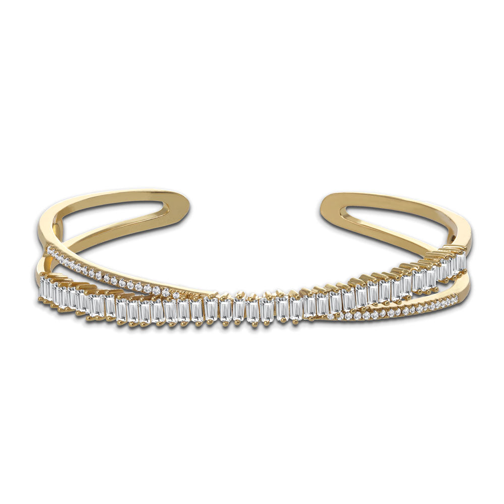 """Gather to Dazzle"" 6.2CTW Baguette Adjustable Cuff"