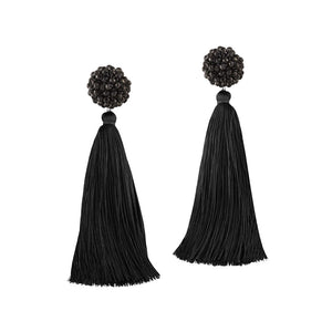 """Time to Bloom"" Handcrafted Crochet Faceted Beaded Crystal Tassel Earrings"