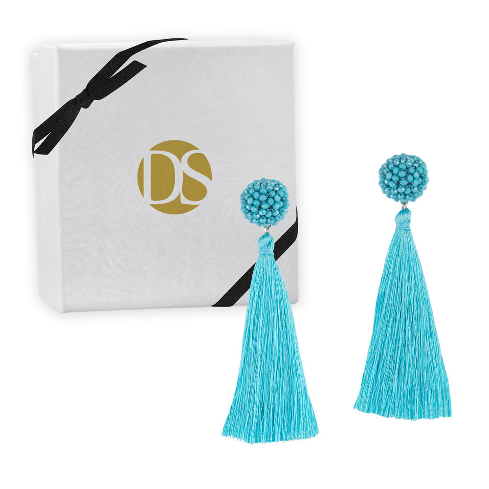 """Time to Bloom"" Handcrafted Crochet Faceted Beaded Crystal Tassel Earrings - More Colors"