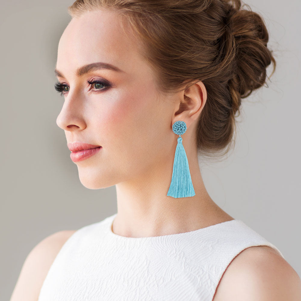 """Time to Bloom"" Handcrafted Crochet Faceted Beaded Crystal Tassel Earrings - Light Blue"