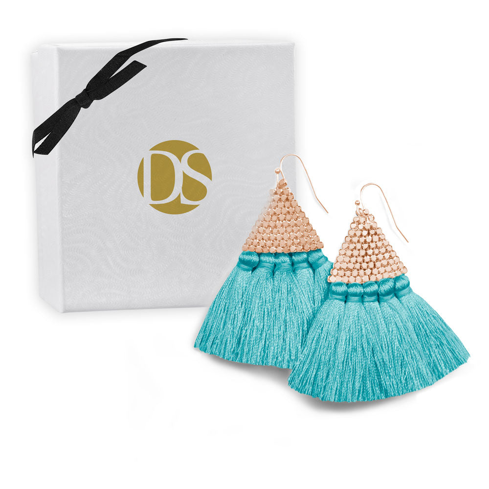"""Triana"" Handcrafted Woven Beaded Tassel Drop Earrings - Rose Gold/Teal Blue"