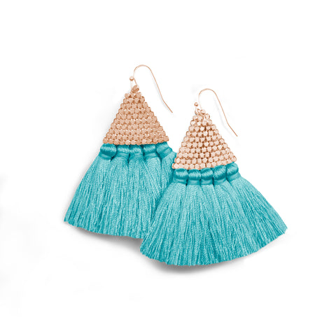"""Triana"" Handcrafted Woven Beaded Tassel Drop Earrings - Silver/Black"