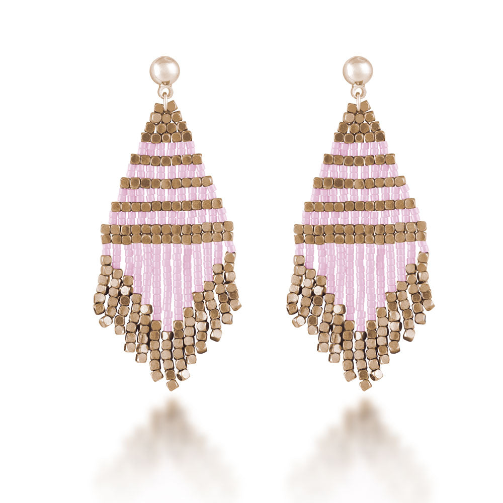 """Trillian"" Handcrafted Woven Beaded Drop Earrings - More Colors"