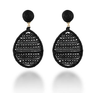 """Jardine"" Handmade Woven Crystal Beads Teardrop Earrings"
