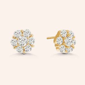 """Romance Story"" 0.9CTW Flower Design Stud Earrings - Sterling Silver / Gold Vermeil"