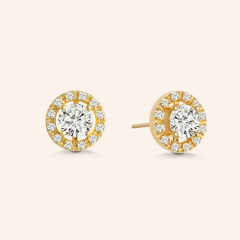 """Delicate Glare"" 1.8CTW Round Halo Stud Earrings - Gold Vermeil Sterling Silver"