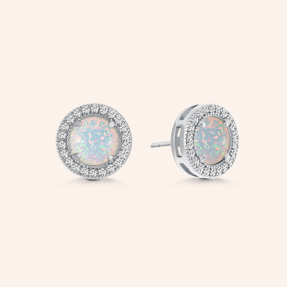 """A Lot Like Me"" 0.9CTW Round Opal Halo Stud Earrings - Sterling Silver"