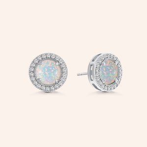 """A Lot Like Me"" 0.9CTW Round Opal Halo Stud Earrings - Sterling Silver / Gold Vermeil"
