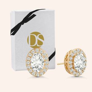 """Queens of Glam"" 2.9CTW Oval Halo Stud Earrings - Gold Vermeil Sterling Silver"