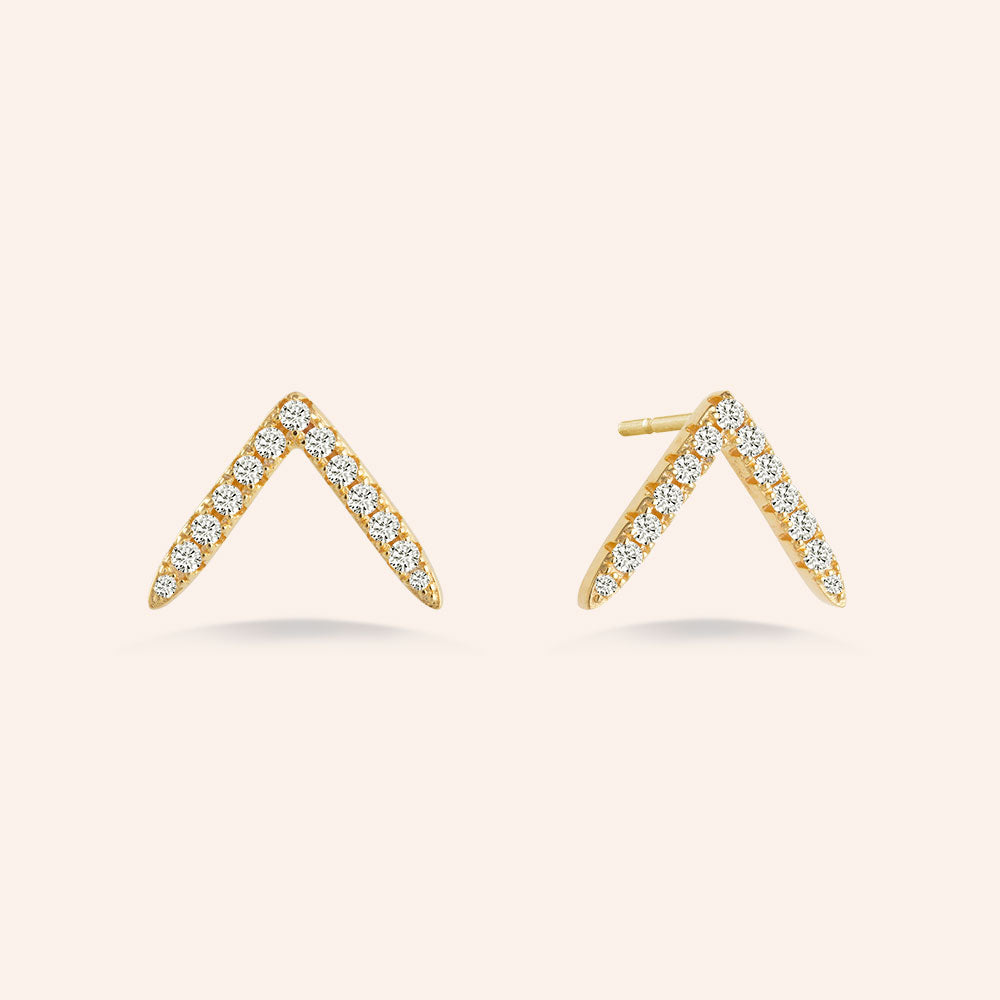 """My Vision"" 0.9CTW Pave V-Shape Stud Earrings - Gold Vermeil over Sterling Silver"
