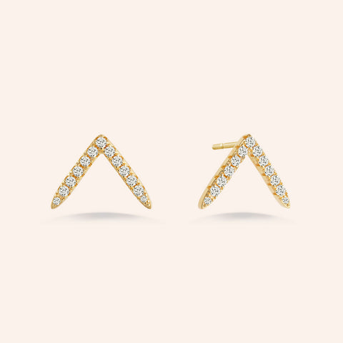 """Three Ways to Shine"" 3.0ctw Round, Heart and Princess Cut set of Sterling Silver Post Earrings - Gold Vermeil Over Sterling Silver"