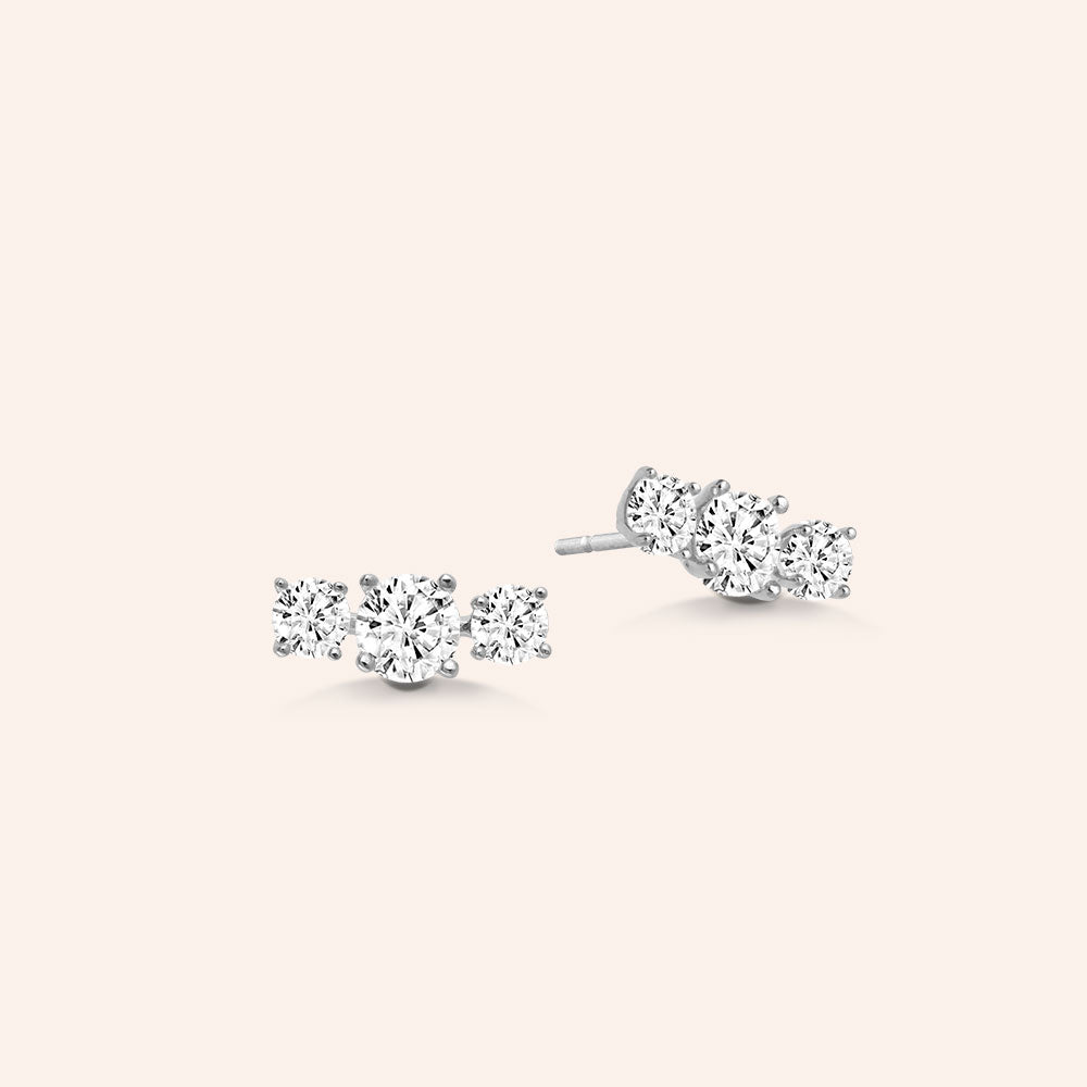 """Gentle Trio"" 1.4CTW 3 Stone Stud Earrings - Sterling Silver / Gold Vermeil"