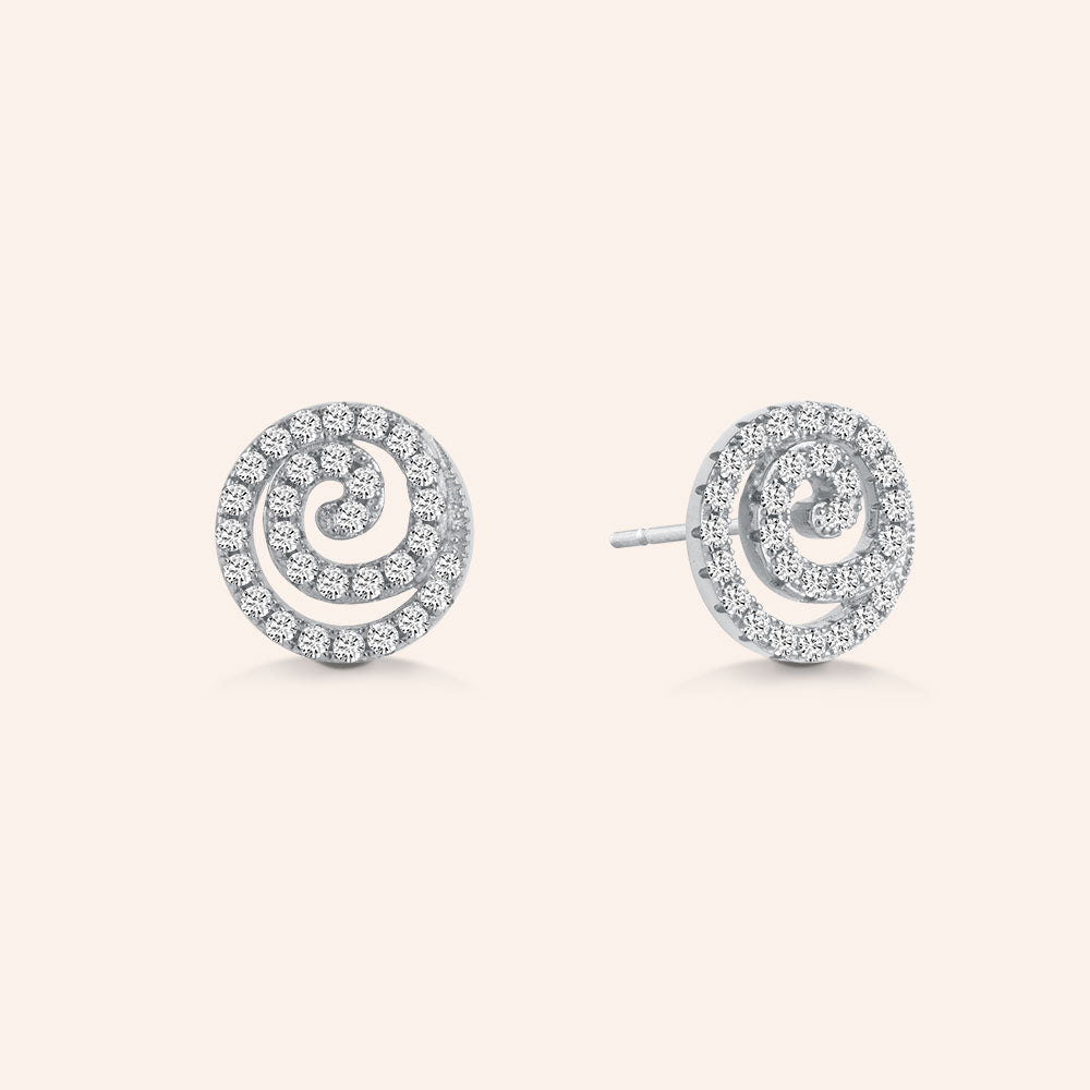 """Magical Shine"" 1.9CTW Pave Swirl Design Stud Earrings - Sterling Silver"