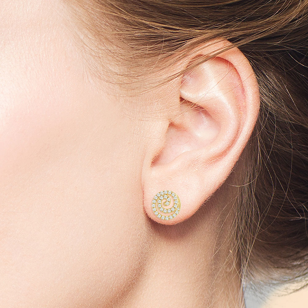 """Magical Shine"" 1.0CTW Pave Swirl Design Stud Earrings - Gold Vermeil over Sterling Silver"