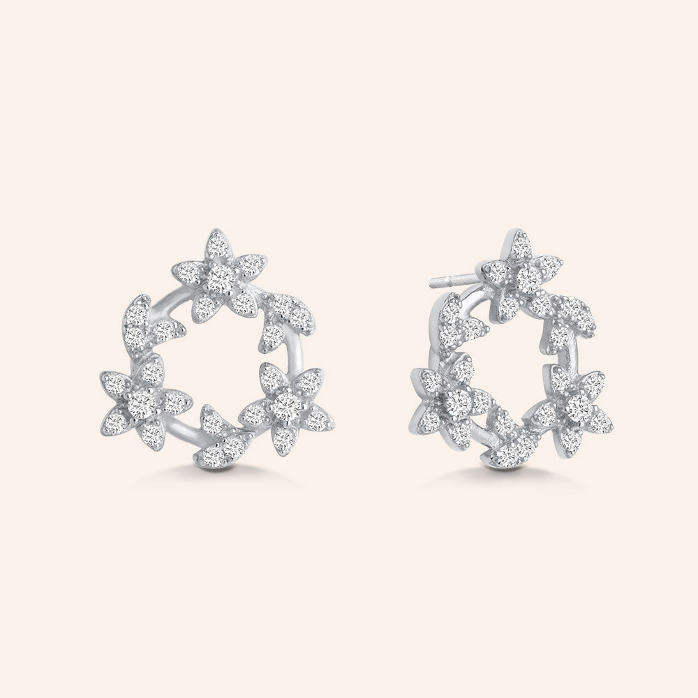 """Eternal Love"" 1.0CTW Pave Flower Design Stud Earrings - Gold Vermeil Over Sterling Silver"