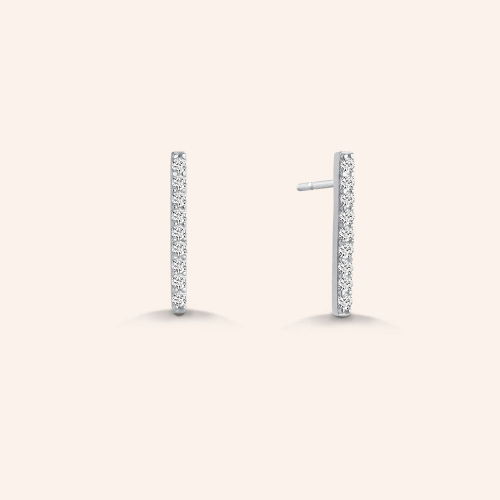 """My Daily"" 0.9CTW Pave Linear Bar Stud Earrings - Sterling Silver / Gold Vermeil"