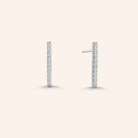 """My Daily"" 0.9CTW Pave Linear Bar Stud Earrings - Sterling Silver"