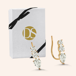 """Noble Journey"" 1.0CTW Pear & Round  3 Stone Climber Earrings - Sterling Silver / Gold Vermeil"