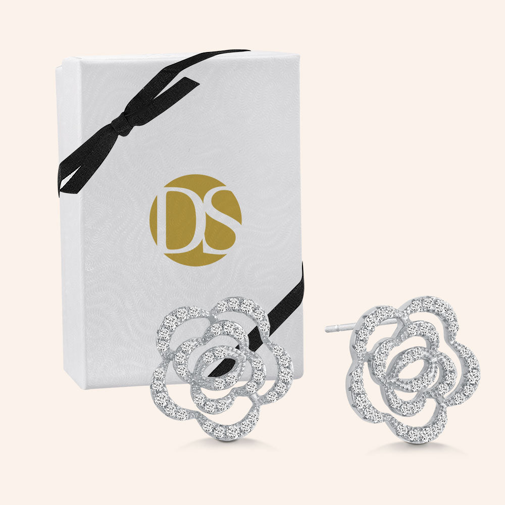 """Palace Garden"" Cut-Out Rose Post Earrings - Sterling Silver"