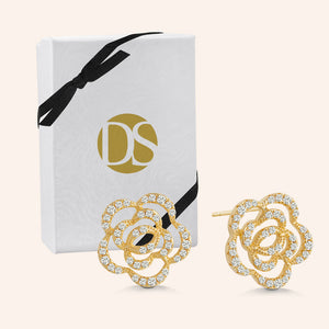 """Palace Garden"" Cut-Out Rose Post Earrings - Sterling Silver / Gold Vermeil"
