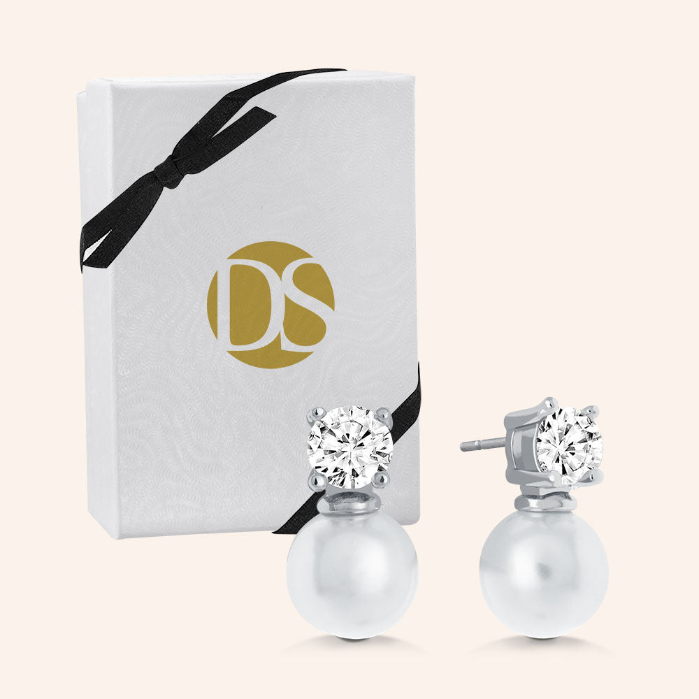 """Royal Gift"" 1.0CTW Round Cut Stone Pearl Post Earrings - Sterling Silver"