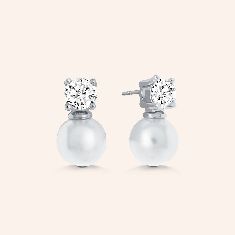 """Royal Gift"" 1.0CTW Round Cut Stone Pearl Post Earrings - Sterling Silver / Gold Vermeil"