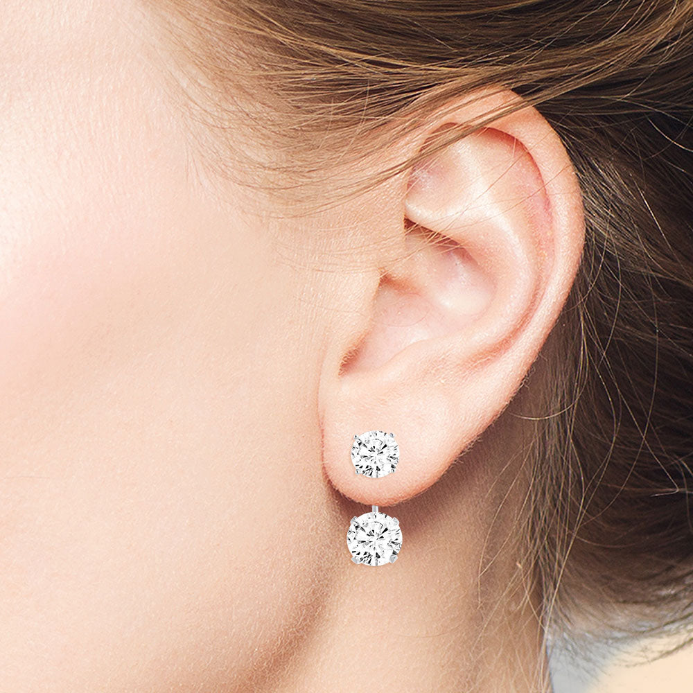 """Trendy Duet"" 6.5CTW 2 Round Cut Stones Front Back Earrings - Sterling Silver"