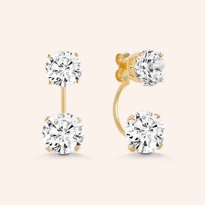 """Trendy Duet"" 6.5CTW 2 Round Cut Stones Front Back Earrings - Sterling Silver / Gold Vermeil"