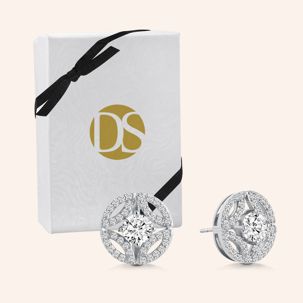 """Once Upon a Time"" 3.6CTW Pave Deco Design Post Earrings - Silver"