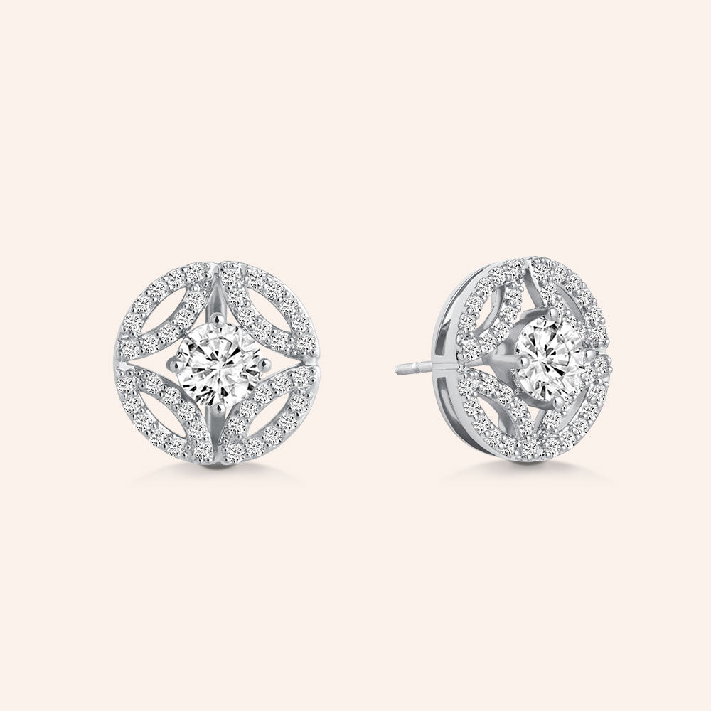 """Once Upon a Time"" 3.6CTW Pave Deco Design Post Earrings"