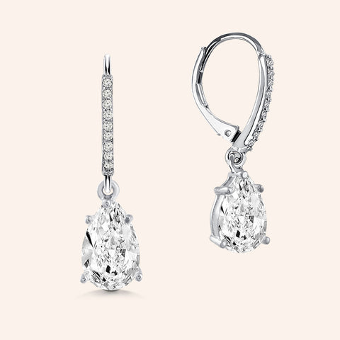 """Meet my Love"" 3.0CTW Pear Cut Stone Pave Drop Earrings - Silver"