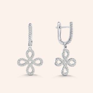 """Free to Flourish"" 1.7CTW Pave 4 Petals Cut-Out Design Drop Earrings"