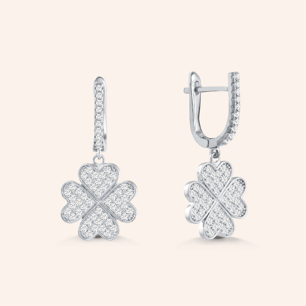 """Forever Mine"" 1.3CTW Pave 4 Petals Clover Drop Earrings - Silver"