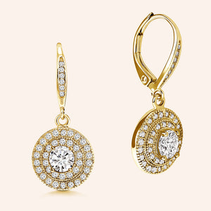 """Diana"" 1.0CTW Round Cut Pave Halo Dangling Earrings"