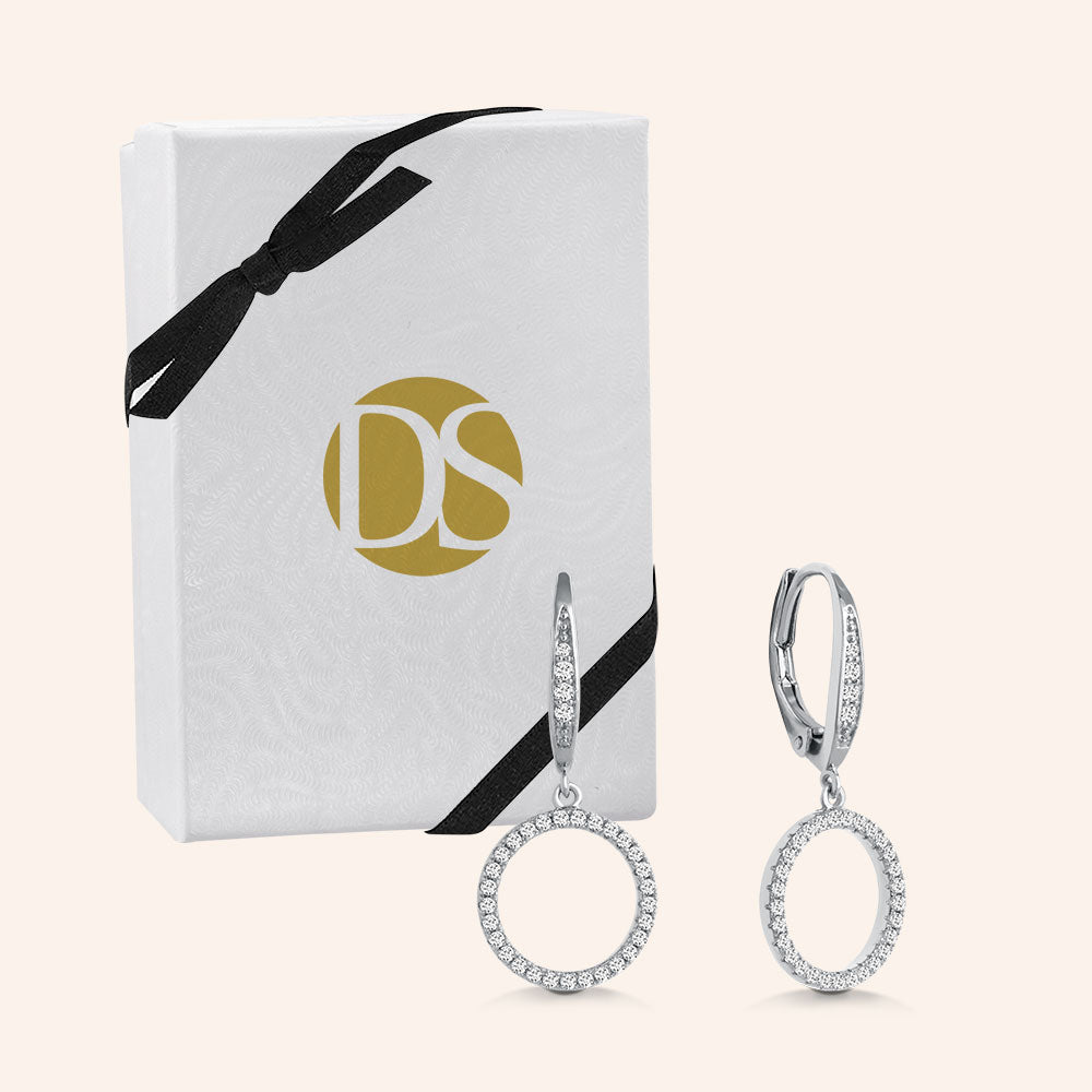 """Infinite Glitz"" 1.0CTW Pave Open Circle Design Drop Earrings - Silver"