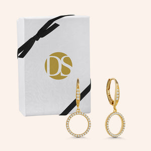 """Infinite Glitz"" 1.0CTW Pave Open Circle Design Drop Earrings"