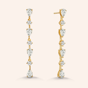 """Crowd Stunners"" 4.6CTW Oval & Round Cut Linear Drop Earrings"