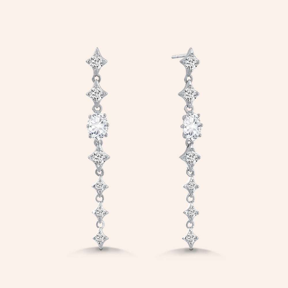 """Majestic Blush"" 2.0CTW Pear & Round Cut Linear Drop Earrings"