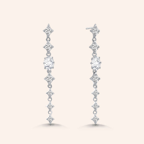 """Majestic Blush"" 2.0CTW Pear & Round Cut Linear Drop Earrings - Silver"
