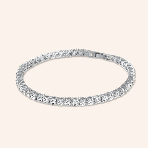 """Truly Yours"" 6.5CTW Round Cut Tennis Bracelet - Includes Extender -Silver"