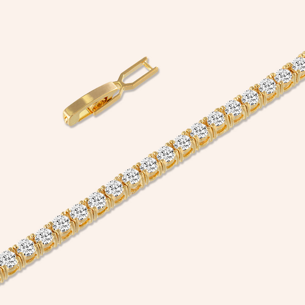 """Truly Yours"" 6.5CTW Round Cut Tennis Bracelet - Includes Extender - Gold"