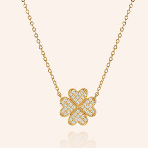 """Forever Mine"" 1.0CTW Pave 4 Petals Clover  Pendant Necklace - Gold"